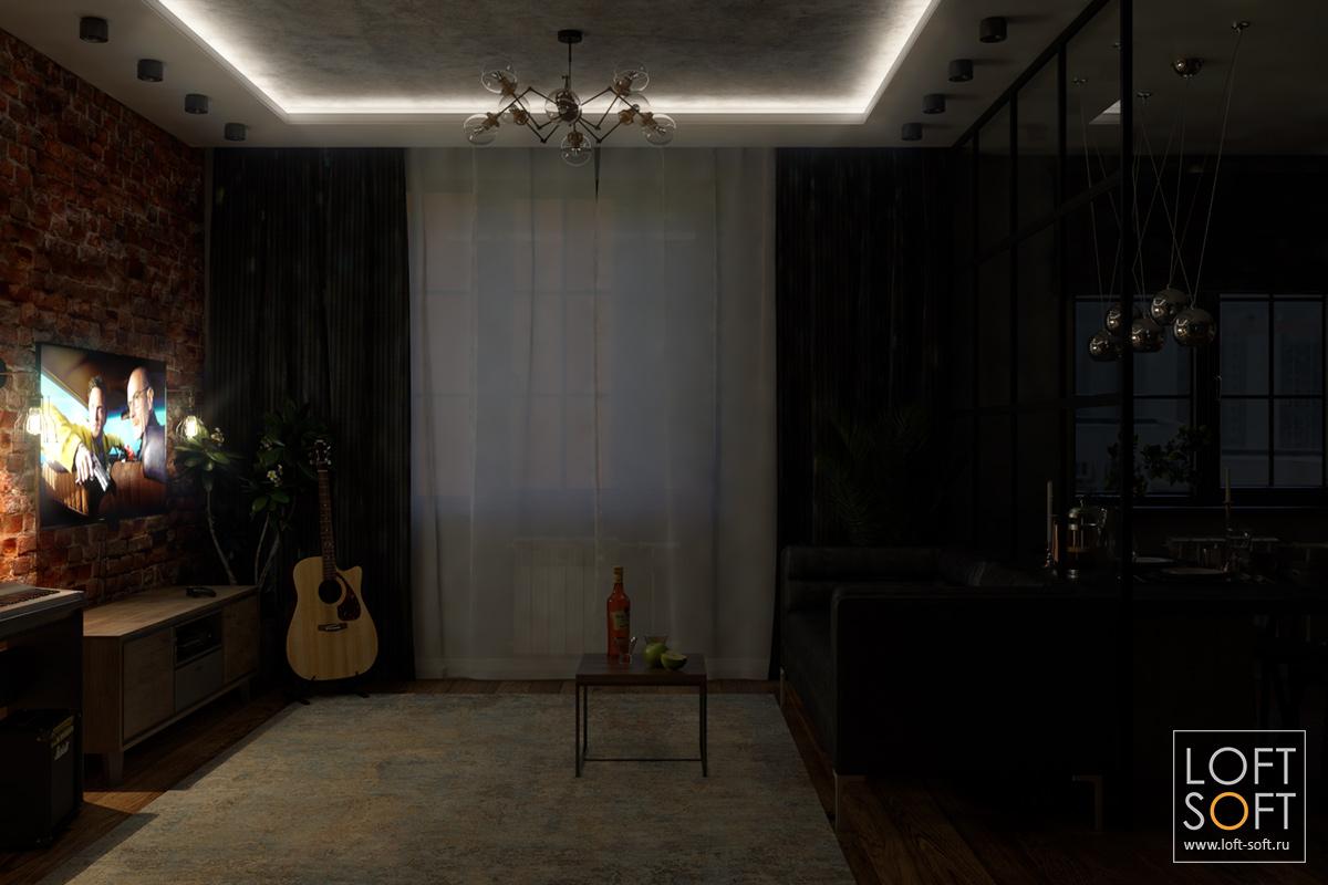 Сценарий освещения на примере одной комнаты — бра, телевизор и закарнизная подсветка
