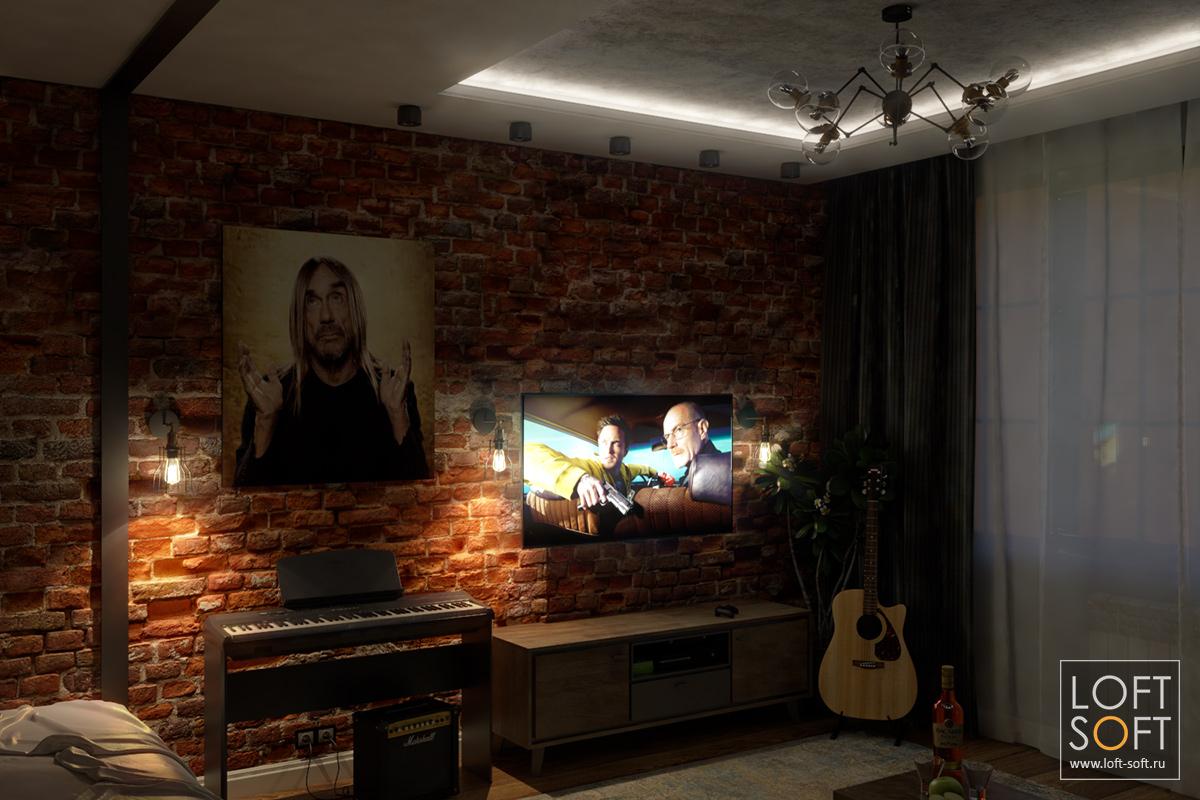 Сценарий освещения на примере одной комнаты — бра и телевизор