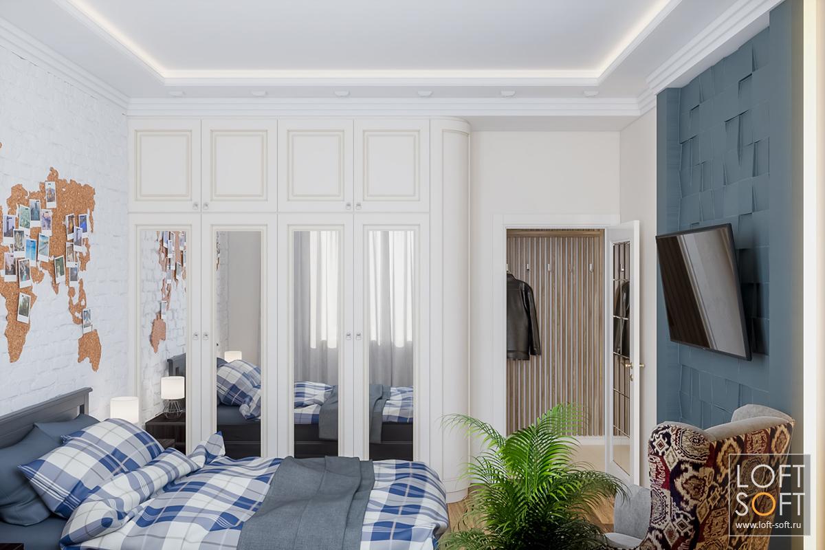 процесс визуализации спальни