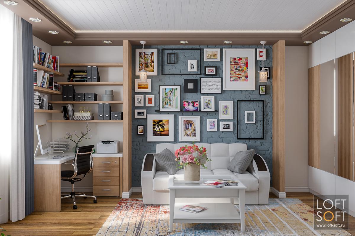 процесс визуализации гостиной