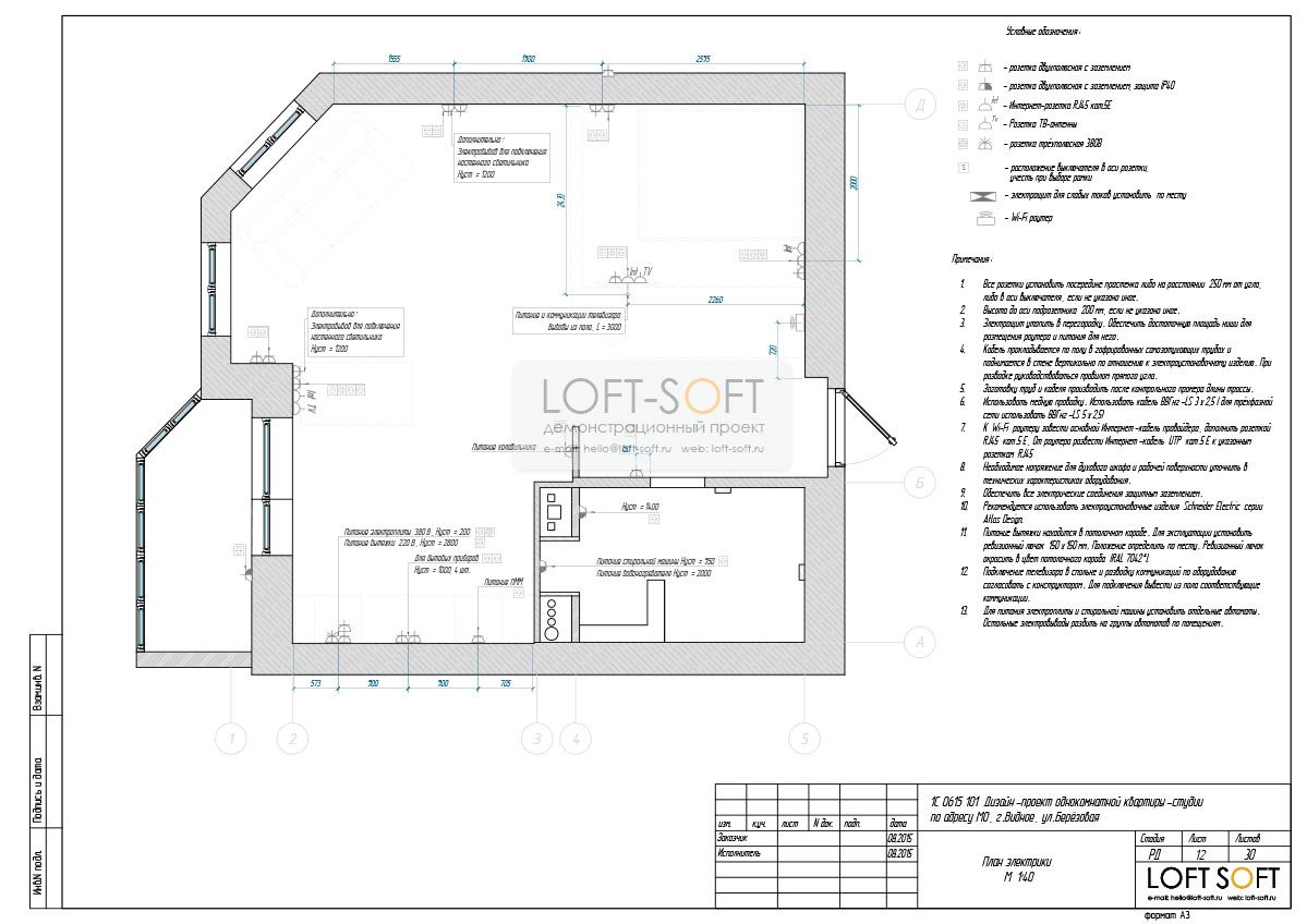 Пример дизайн-проекта. План электрики.