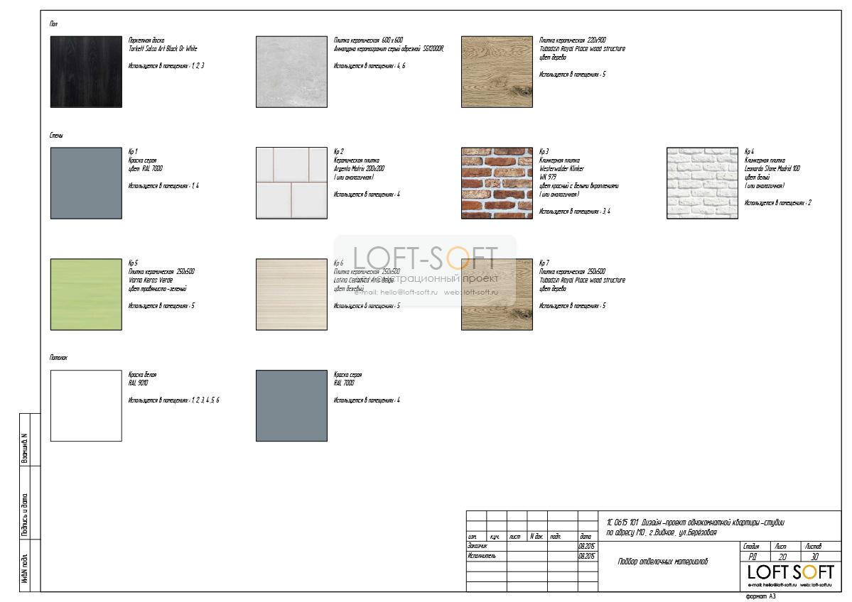 Пример дизайн-проекта. Подбор отделочных материалов.