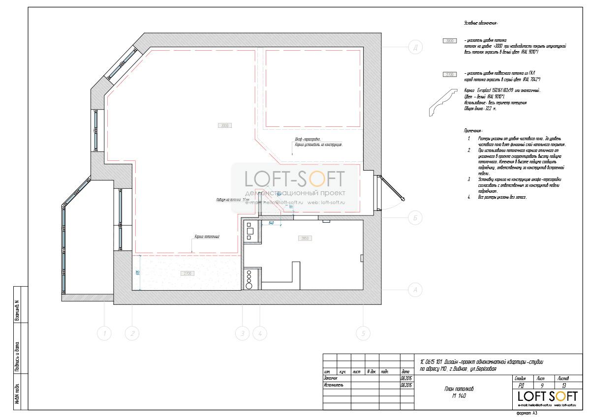 Пример технического проекта. План потолков.