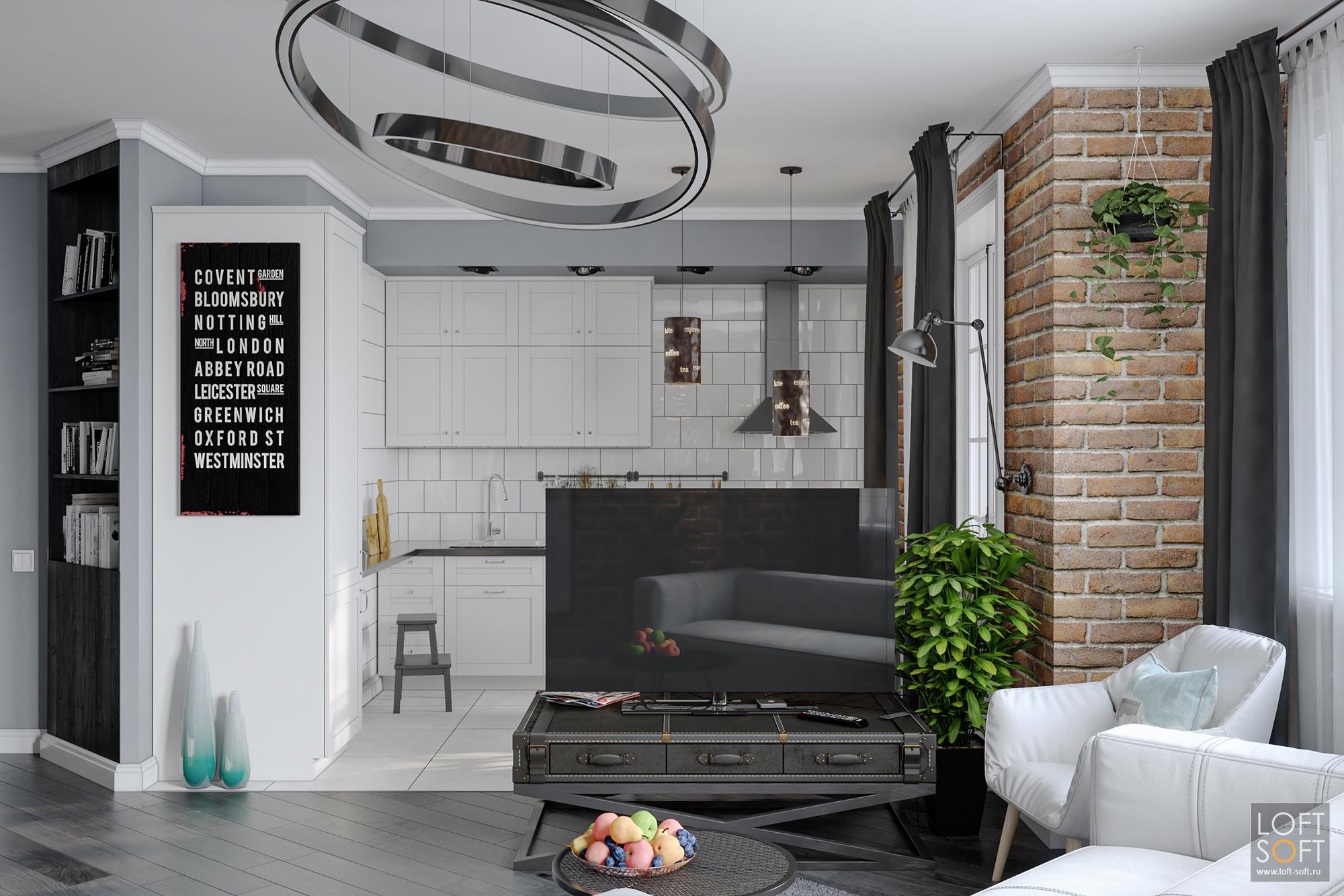 Современный дизайн квартиры. Лофт винтерьере.