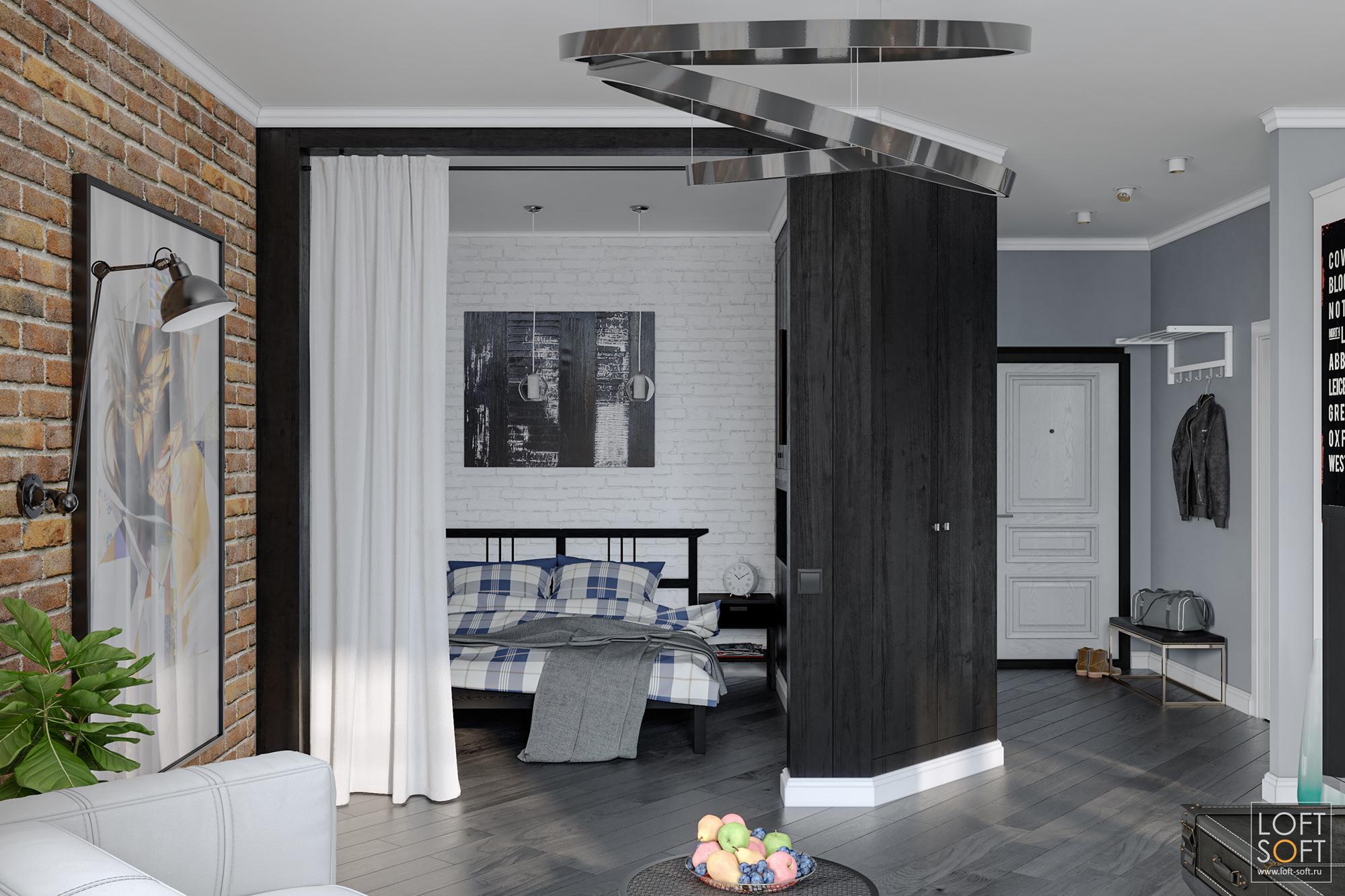 Зонирование квартиры студии. Дизайн встиле лофт. Квартира студия дизайн интерьера.