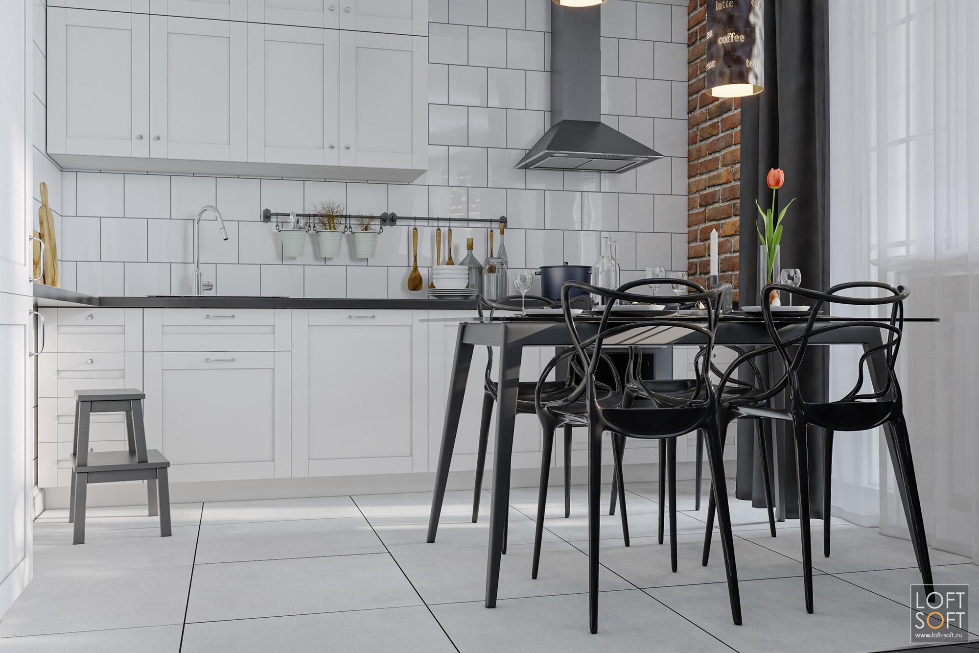 Белая кухня. Дизайн современной кухни. Квартира студия дизайн интерьера.