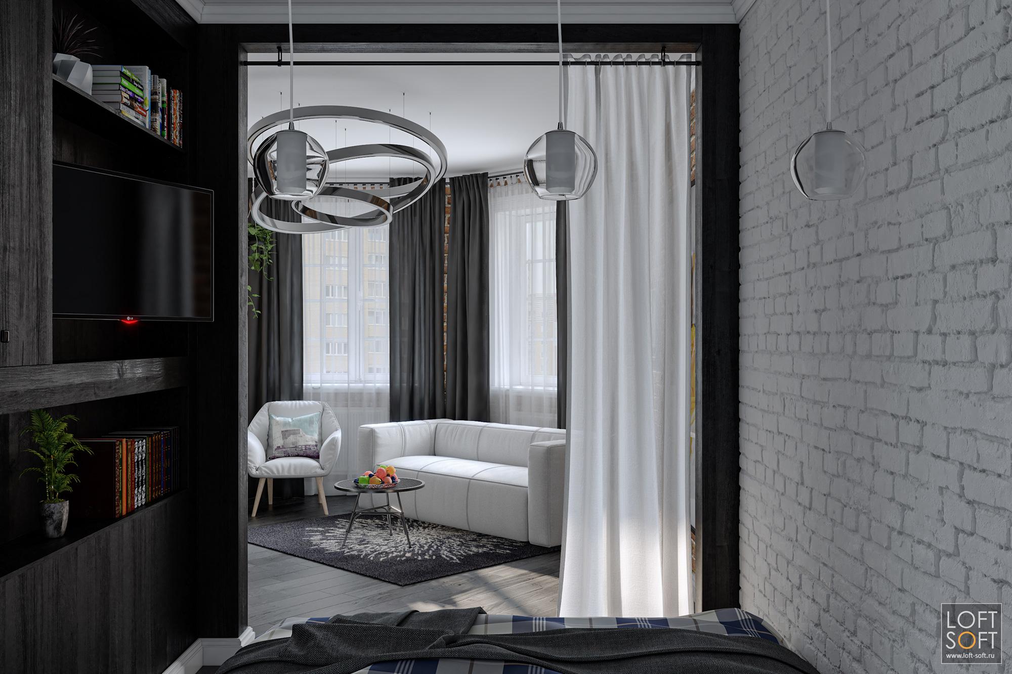 Спальная зона воднокомнатной квартире. Дизайн лофта.
