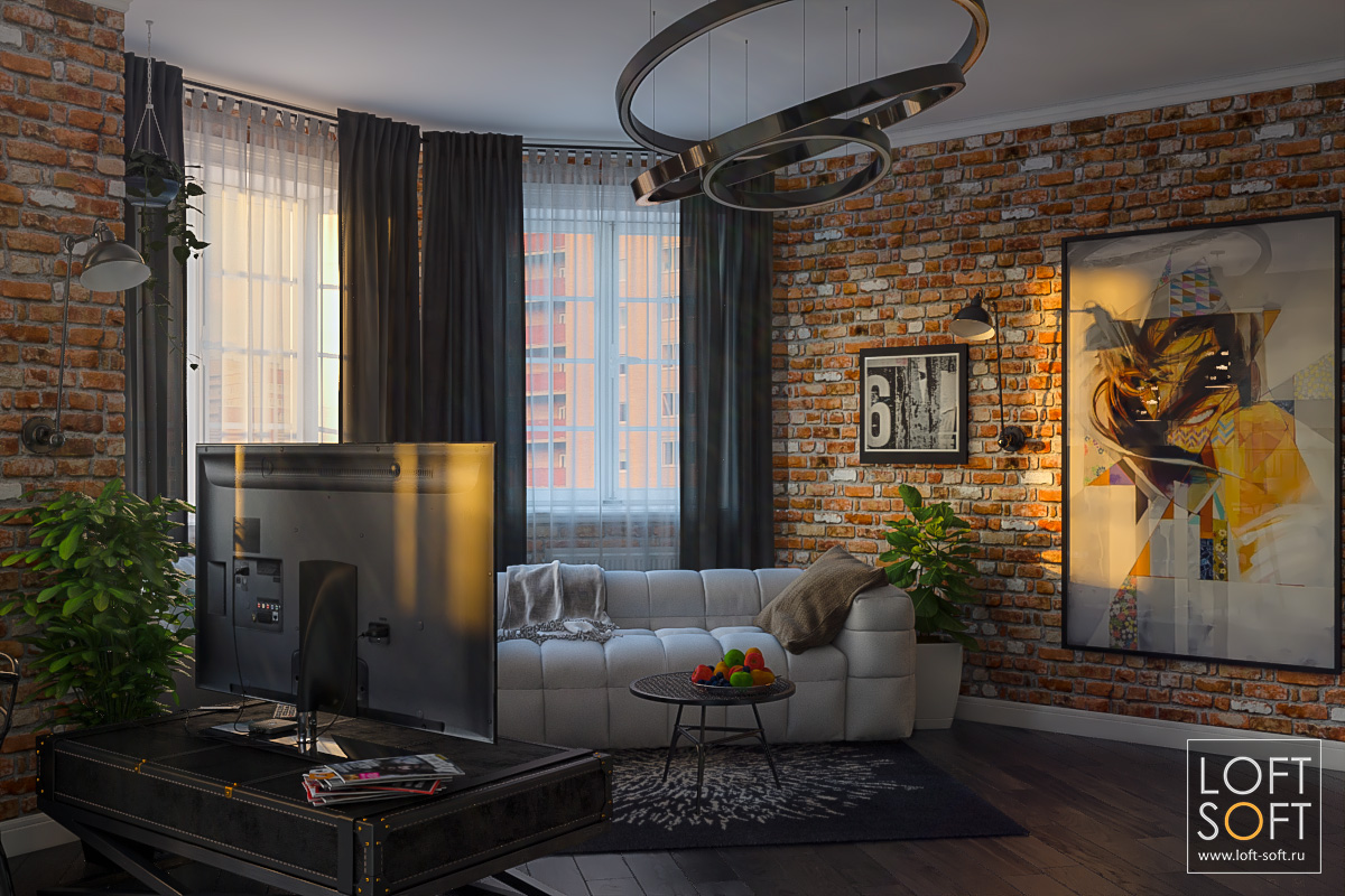 Дизайн квартиры встиле лофт. Квартира студия дизайн интерьера.