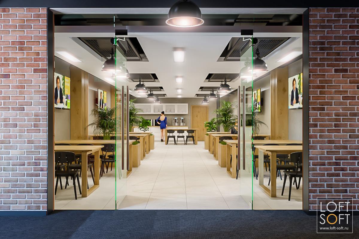 Дизайн столовой вофисе. Дизайн офиса встиле лофт.