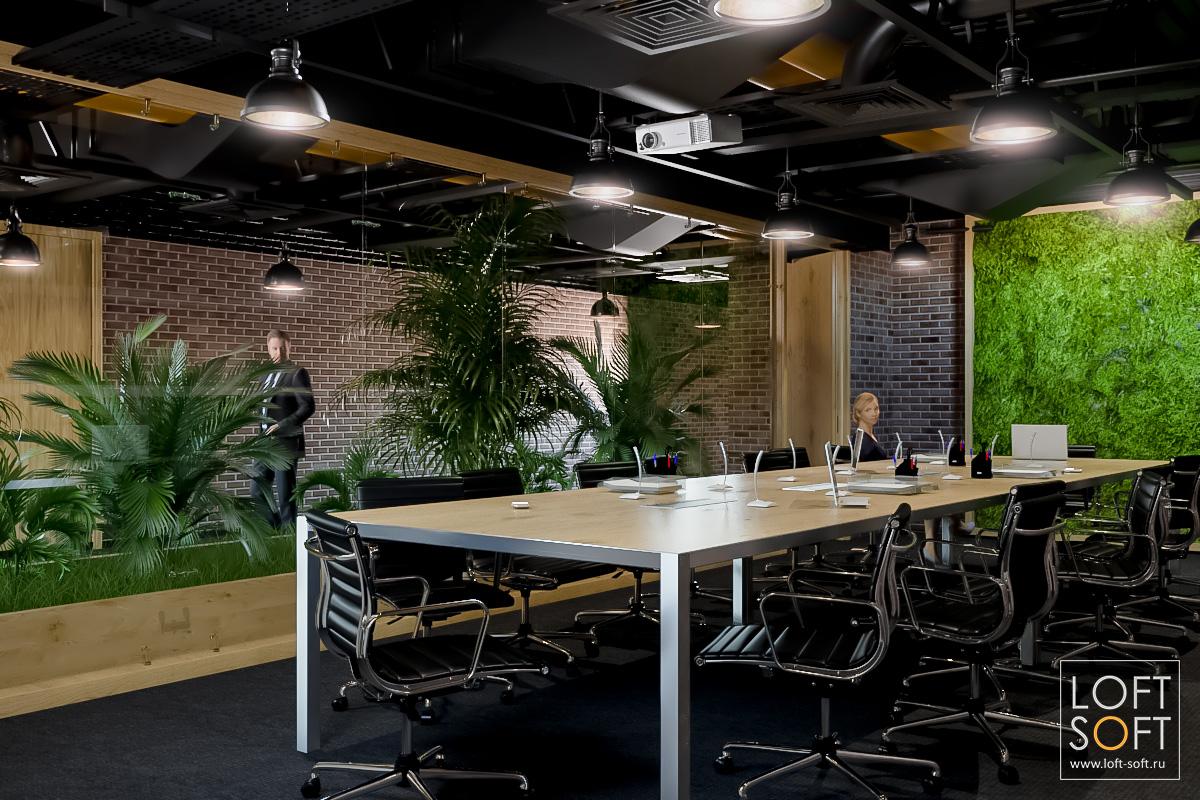 Дизайн офиса встиле лофт. Переговорная комната сфитостеной.