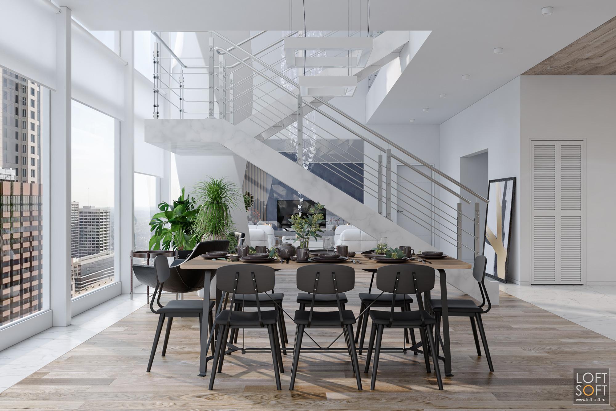 Современный дизайн дома. Белый интерьер. Мраморная лестница навторой этаж.