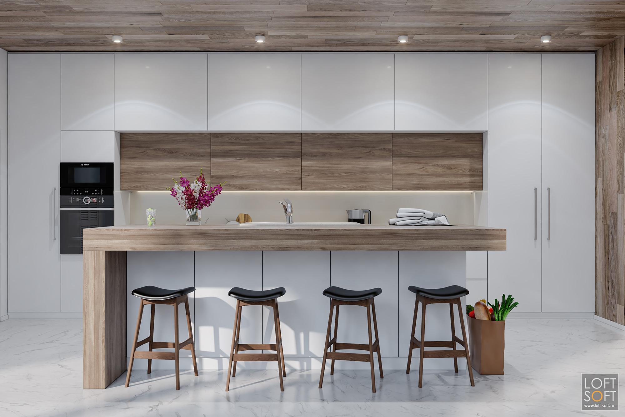 Дизайн современной кухни. Белая кухня сдеревянными вставками.