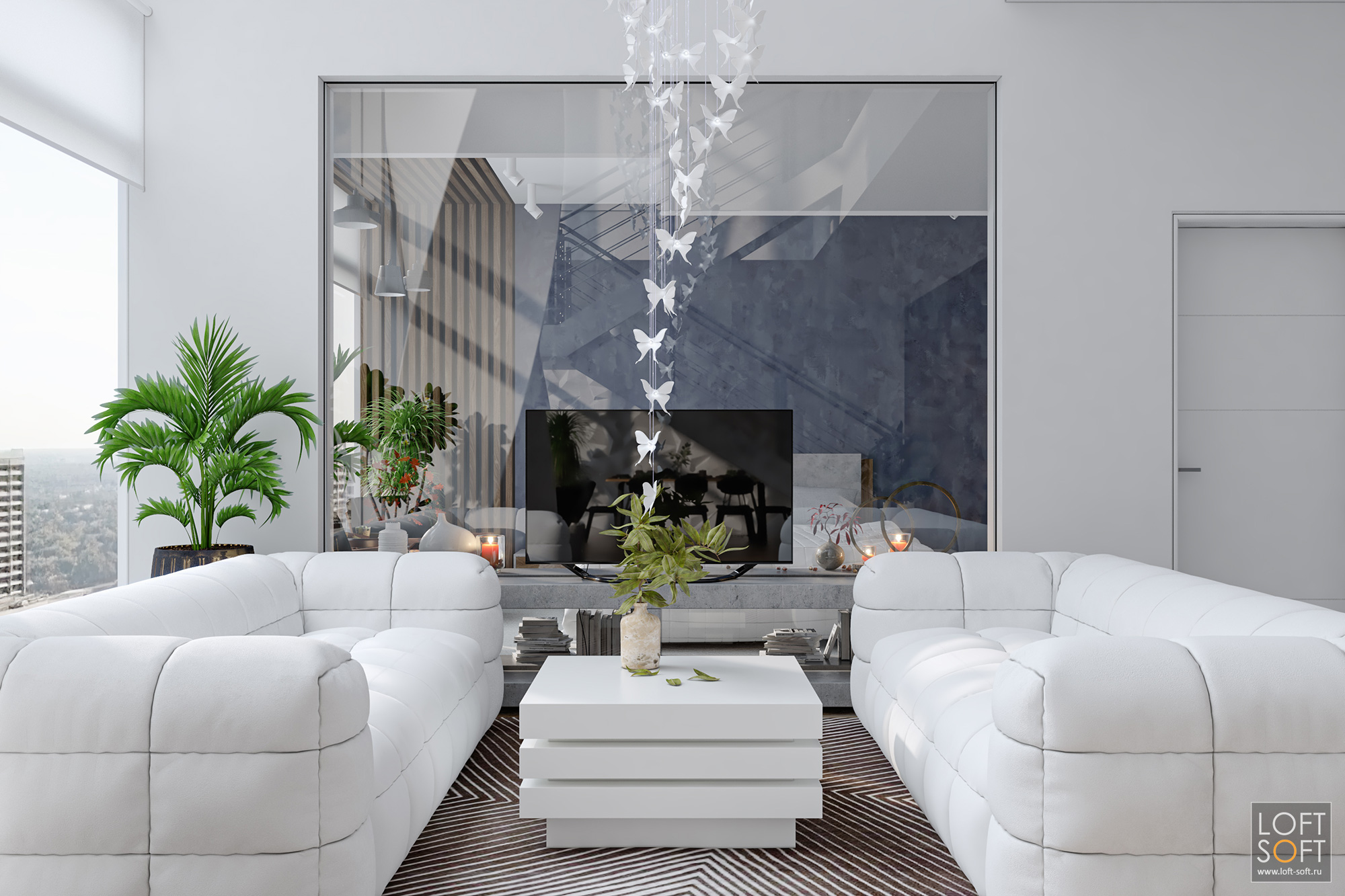 Стеклянная перегородка вдоме. Современный дизайн дома. Зелень ибелый интерьер.