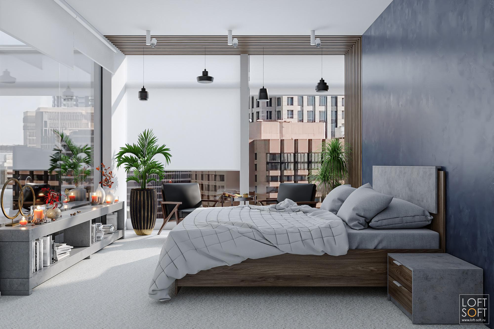 Спальня всовременном стиле. Деревянные рейки вдизайне интерьера.