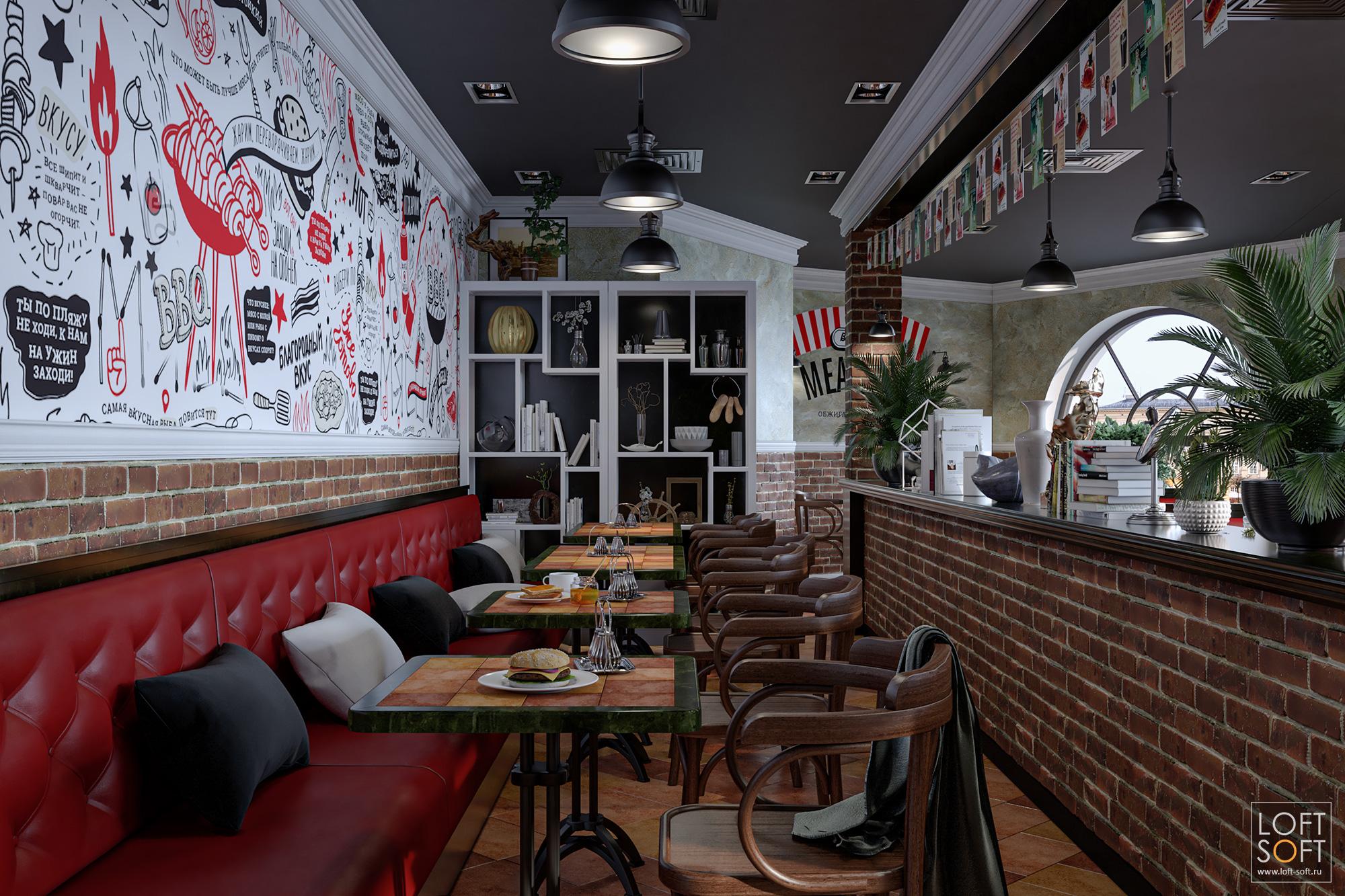 Дизайн интерьера кафе. Стена снадписями винтерьере кафе.