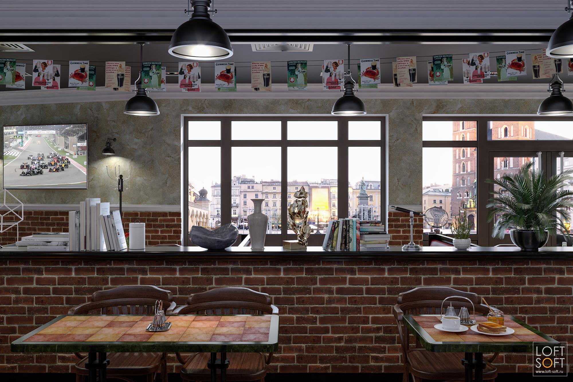 Дизайн гриль-ресторана. Кирпичные колонны взале.