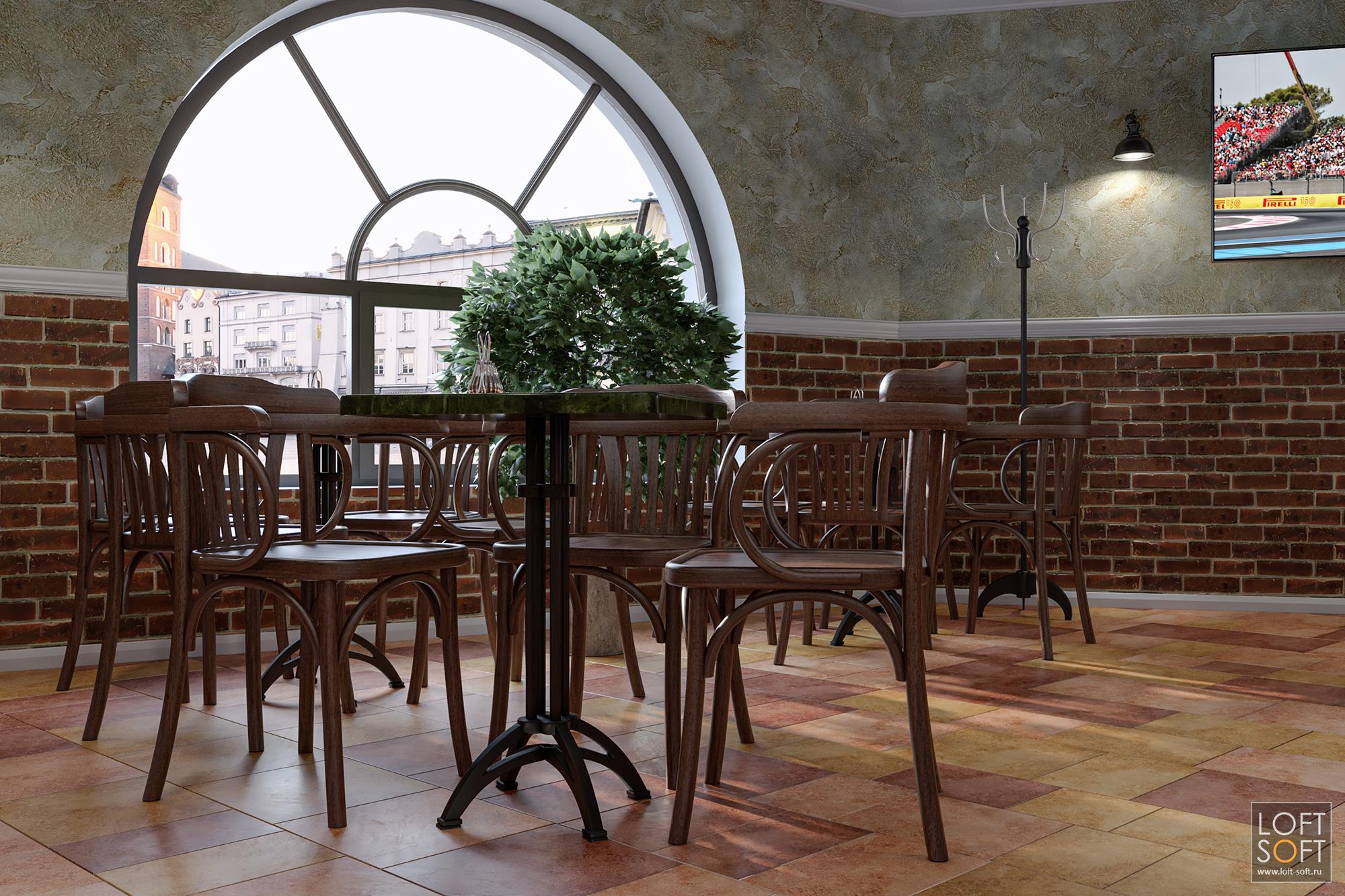 Радиальное окно винтерьере. Дизайн кафе-ресторана.
