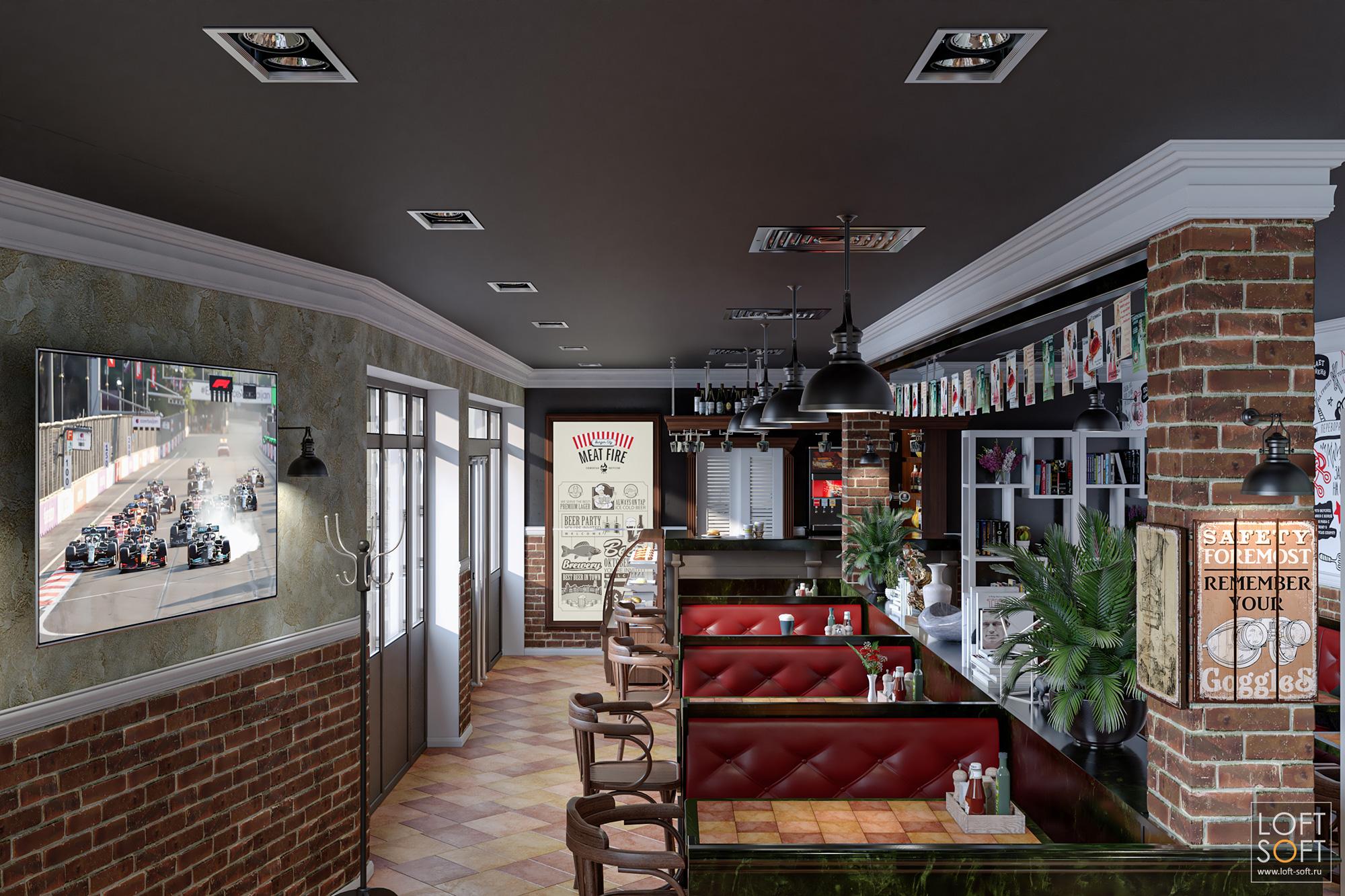 Дизайн помещения ресторана встиле лофт.