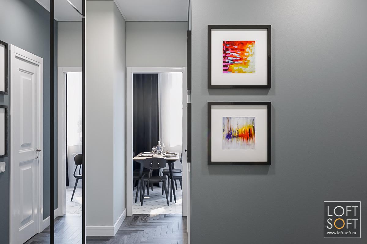 Дизайн прихожей вП44. Серый современный коридор.