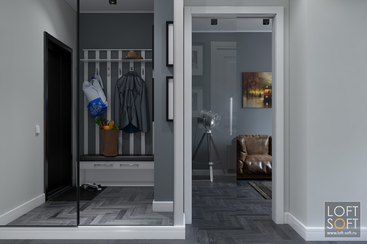 Зеркальный шкаф вприхожей. Дизайн коридора.