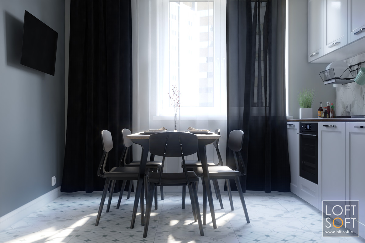 Дизайн кухни всовременном стиле. Серые стены винтерьере.
