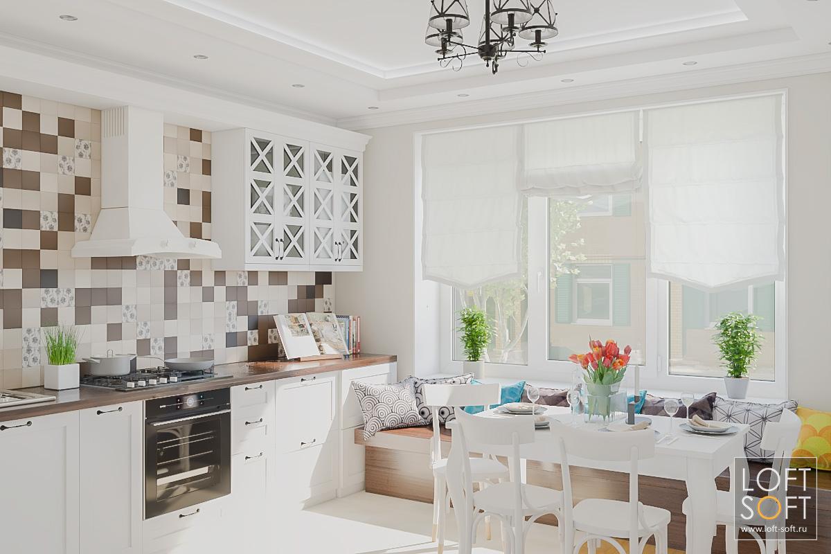 Неоклассическая кухня скоричневой мозаикой нафартуке.