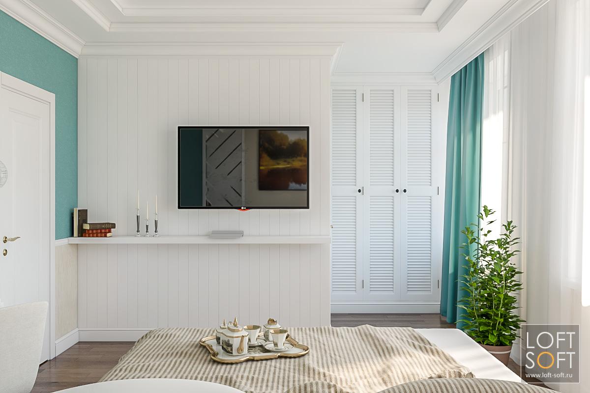 Спальня встиле неоклассики ипрованса. Стена из реек. Многоуровневый потолок вспальне.