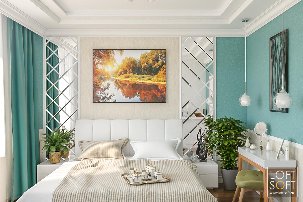 Фацетные зеркала вспальне. Интересный дизайн спальни.