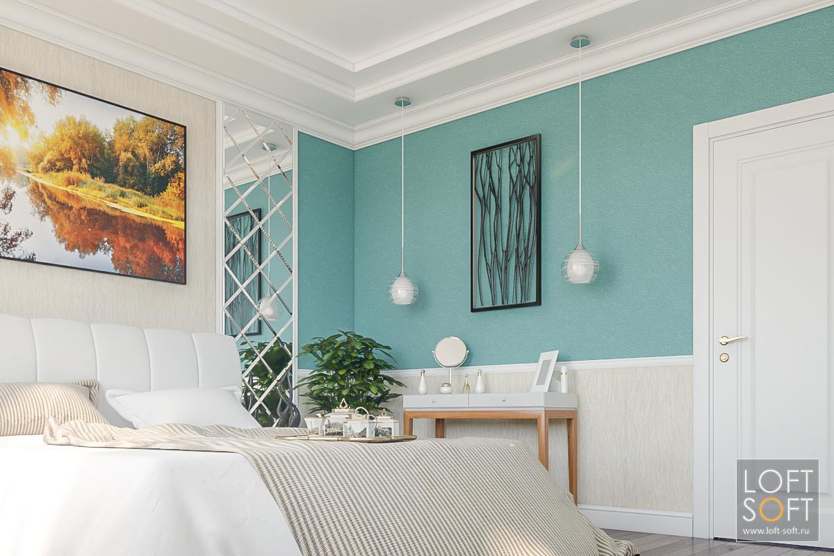 Спальня прованс сзелеными обоями изеркалами сфацетом.