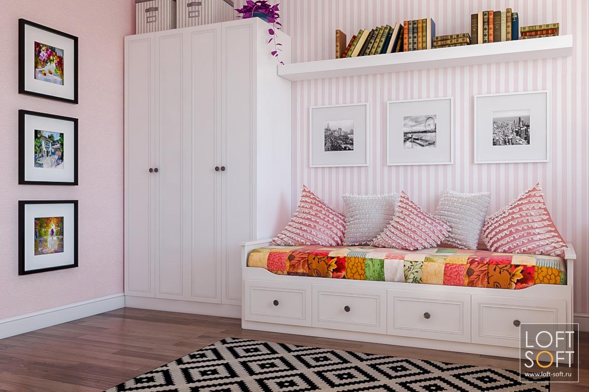 Розовые обои вдетской комнате.
