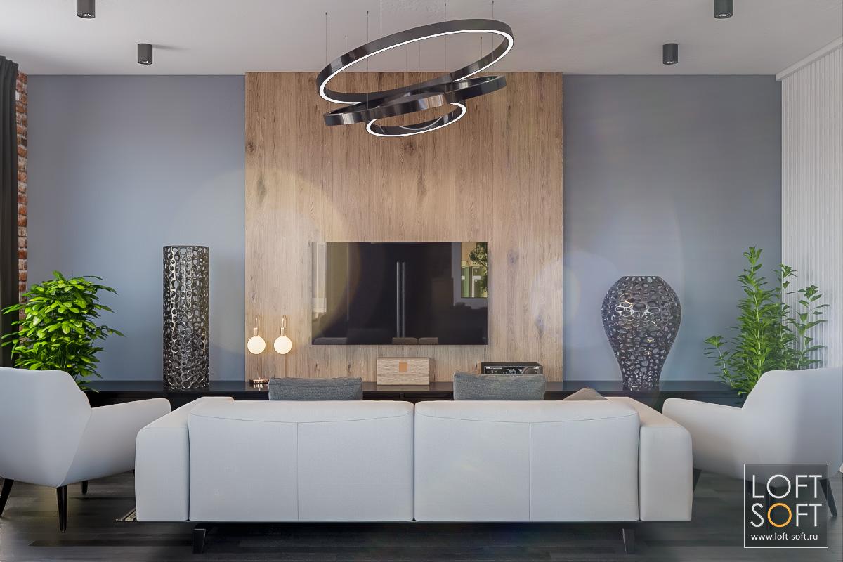 Деревянная панель насерой стене. Современный дизайн вашего дома.