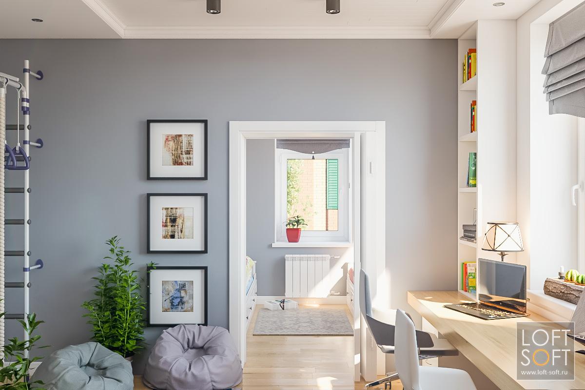 Дизайн детской комнаты всовременном стиле. Серая стена икартины как декор.