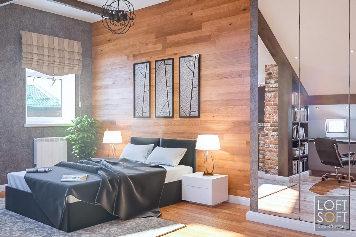 Дизайн дома встиле лофт. Оформление спальни.