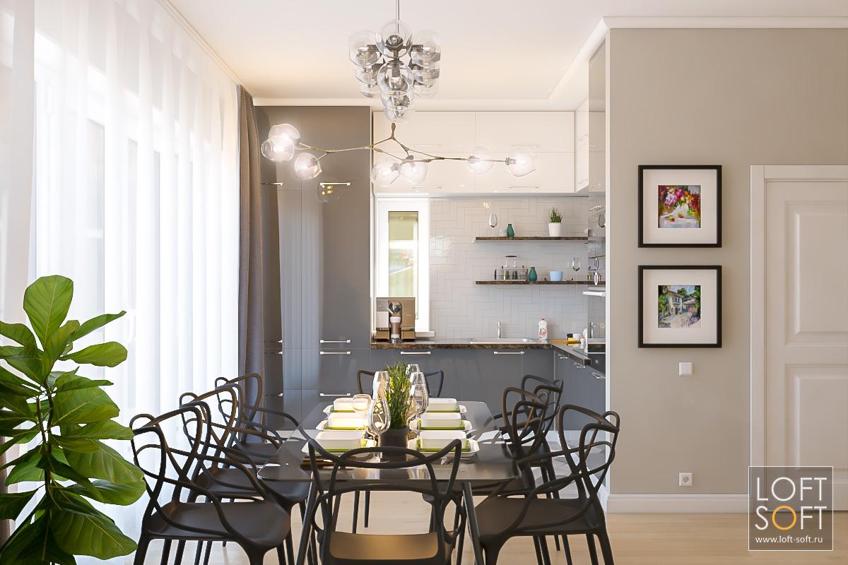 Современный дизайн кухни иобеденной зоны.