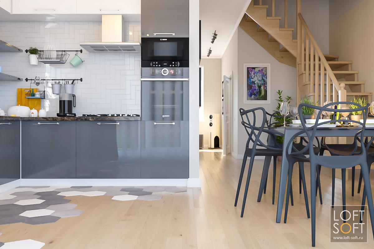 Современная кухня взагородном доме. Плитка кабанчик нафартуке кухни.