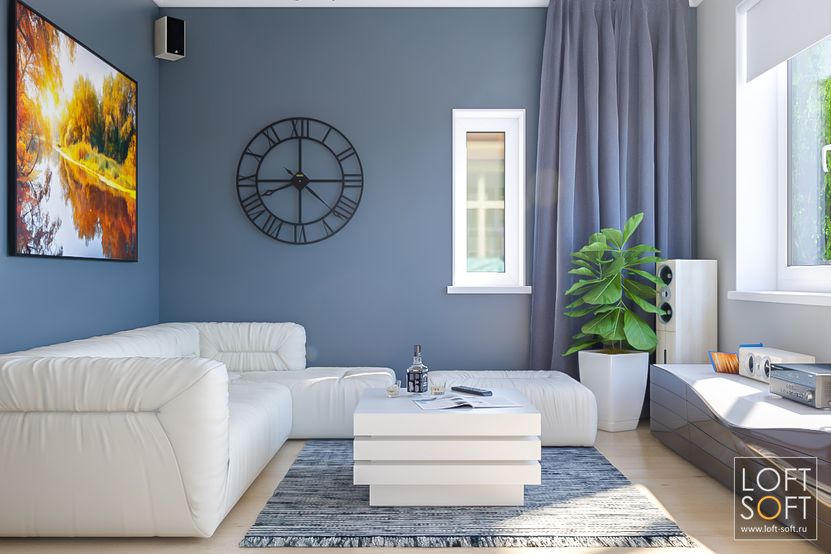 Гостиная всовременном стиле. Серые стены ибелая мебель.