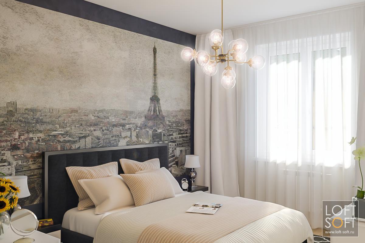 Дизайн спальни всовременном стиле. Фреска вспальне встиле прованс.