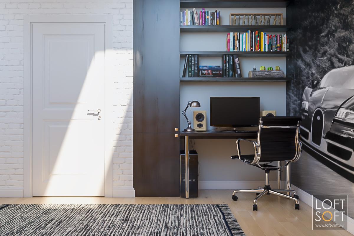 Современный дизайн детской комнаты. Белая стена винтерьере. Рабочее место школьника.