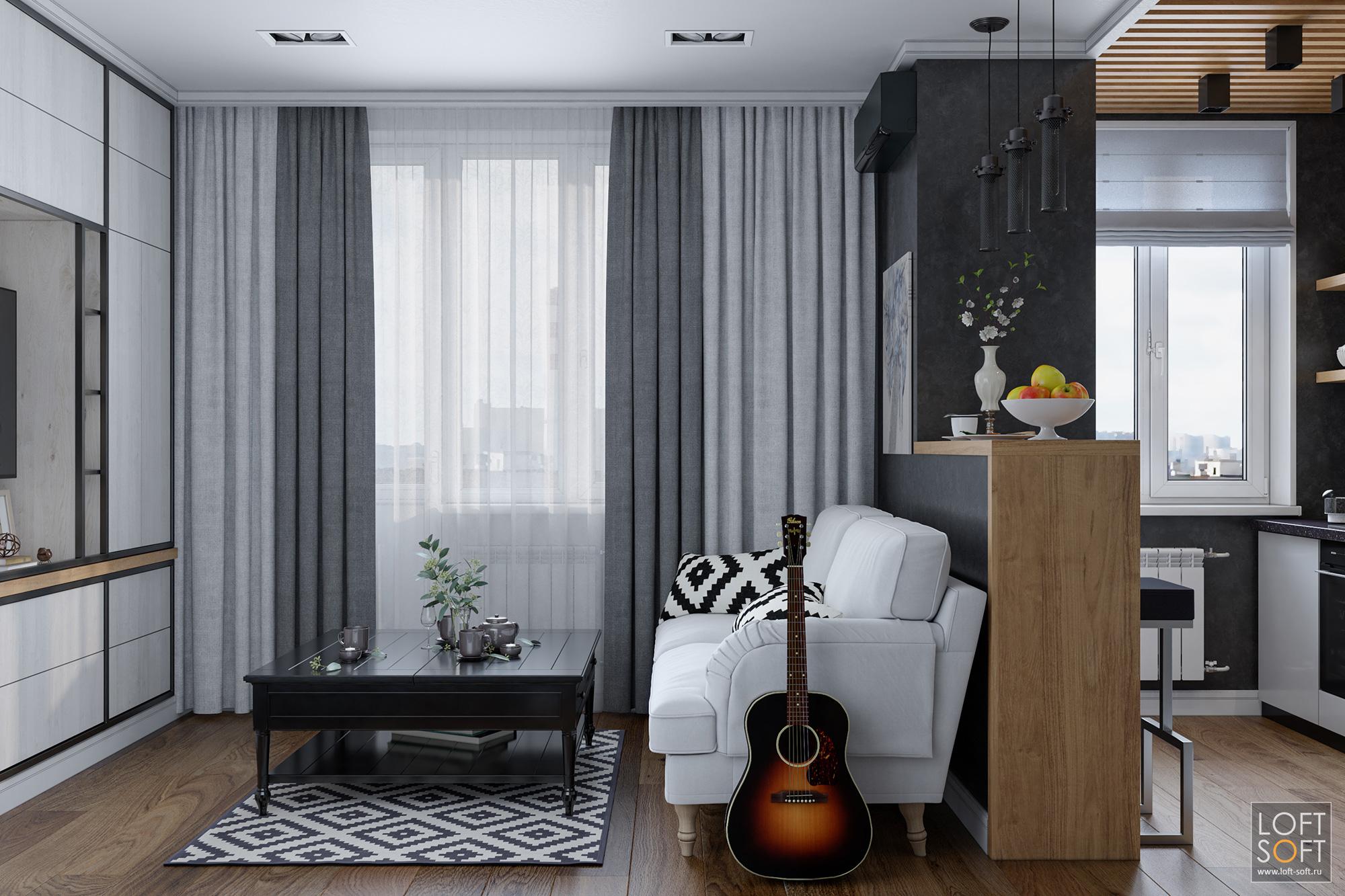 Современный дизайн однокомнатной квартиры. Черные стены ирейки напотолке.