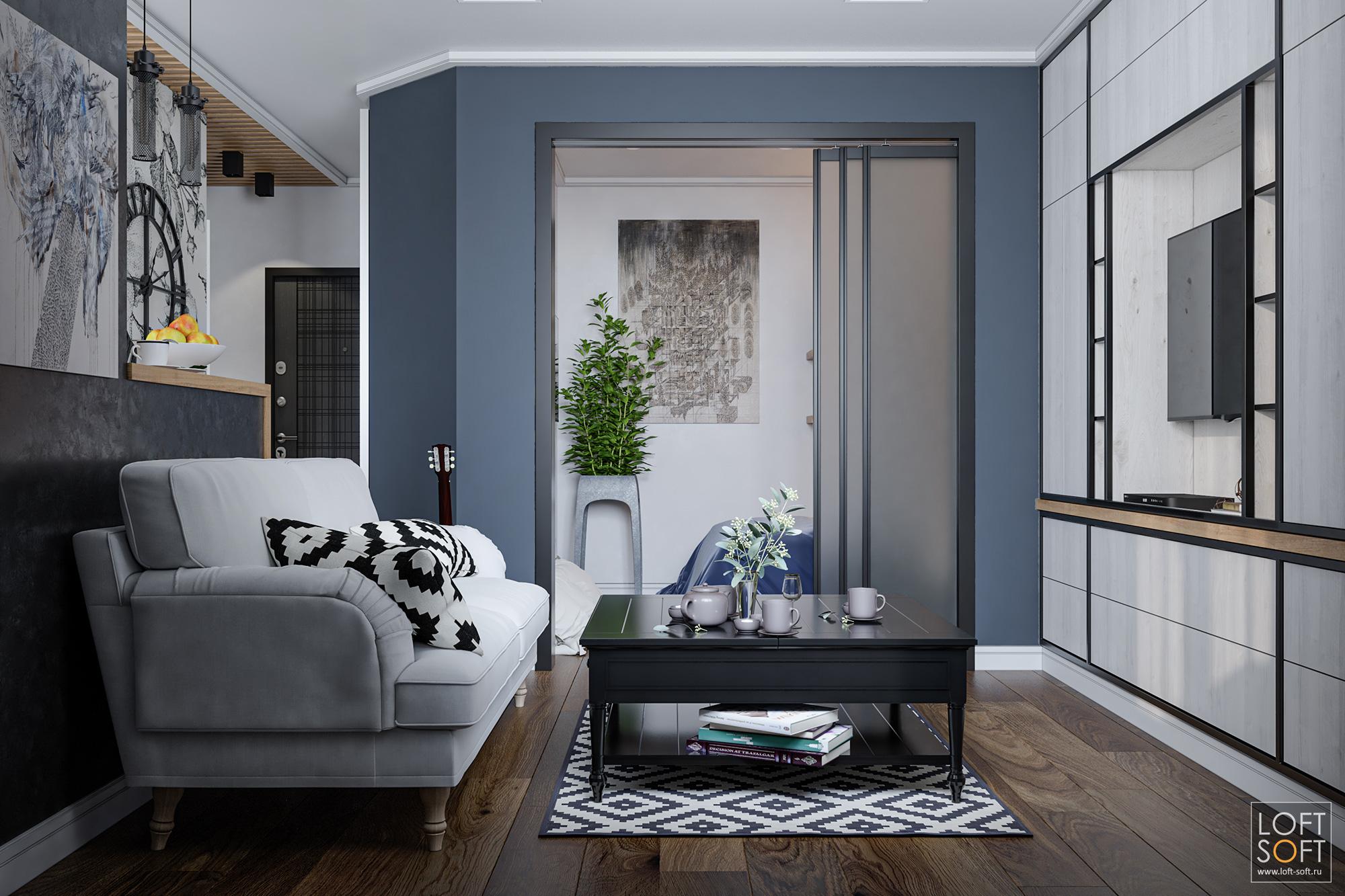 Современные цвета интерьера. Черная штукатурка, серые стены ибелая мебель.
