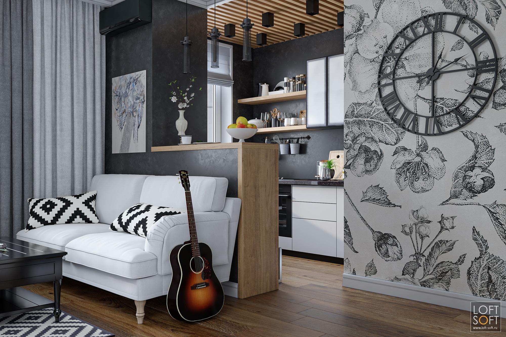 Современная черная кухня. Барная стойка вместо обеденного стола. Белый диван у черной стены.
