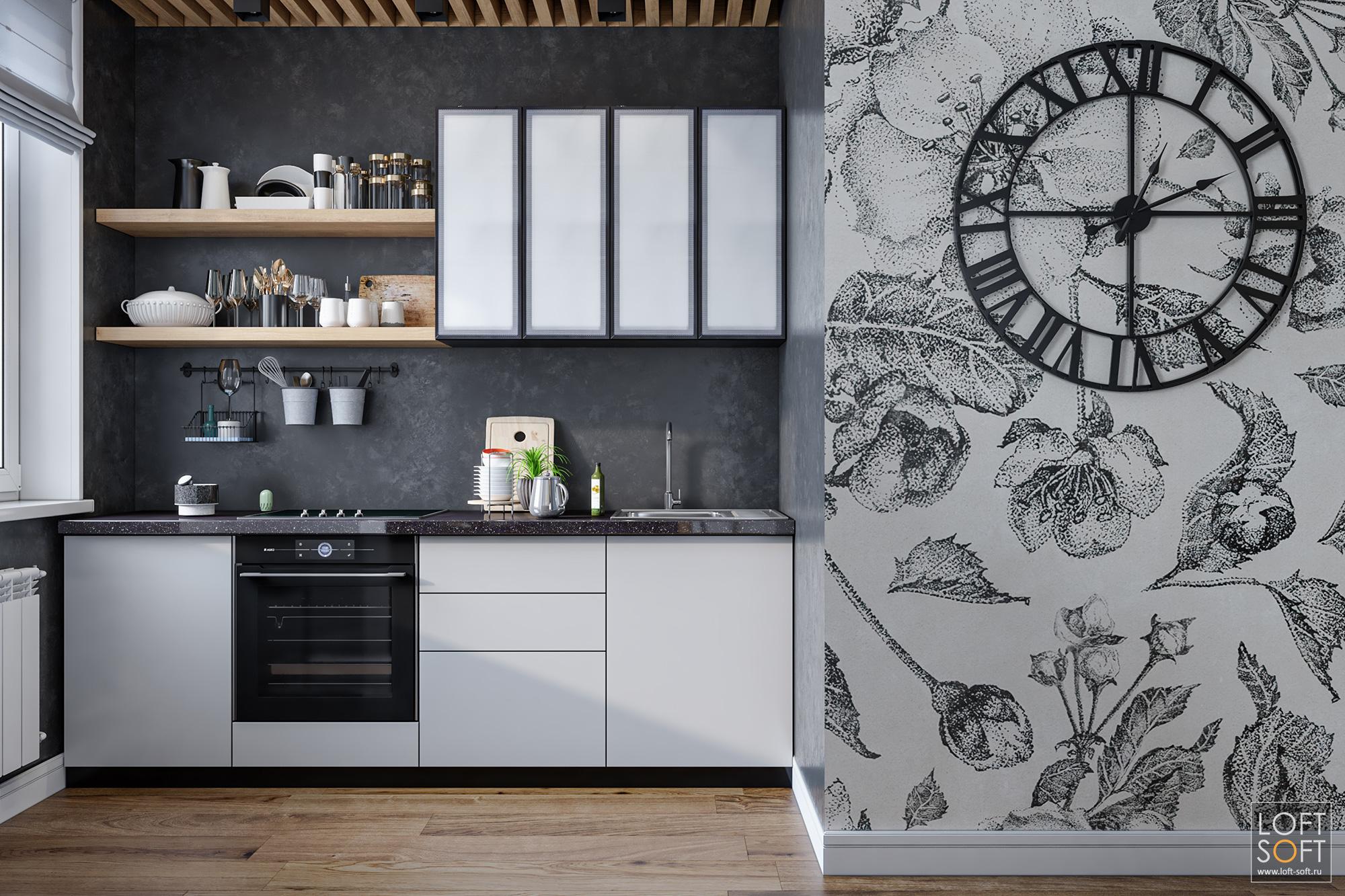 Современная кухня начерной стене. Металлические большие часы настене сфреской.