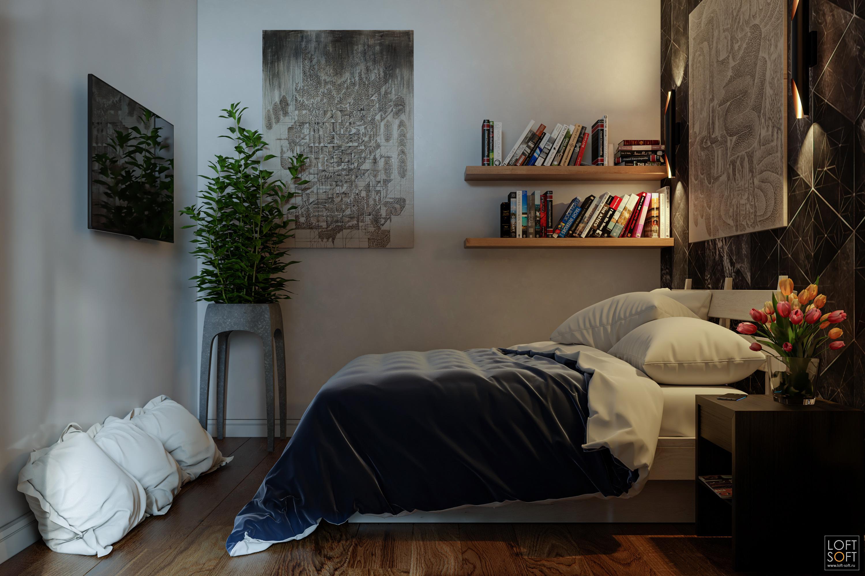 Спальная зона воднокомнатной квартире. Теплый свет вспальне. Современный интерьер спальни.