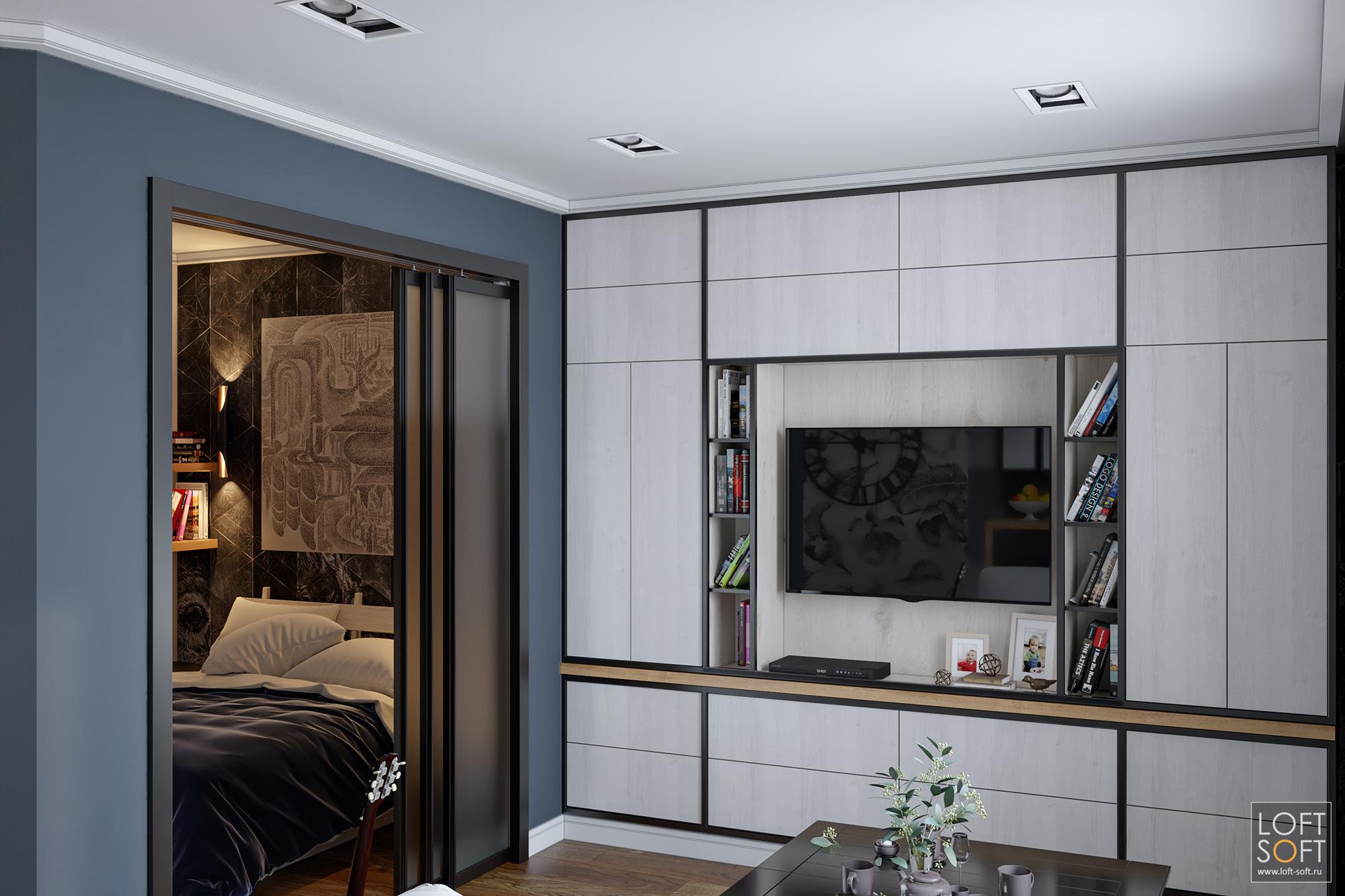 Дизайн однушки. Спальня воднокомнатной квартире.