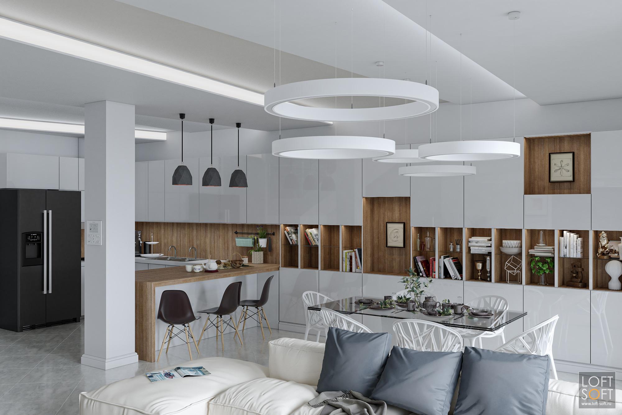Дизайн современного таунхауса. Светлый интерьер гостиной.