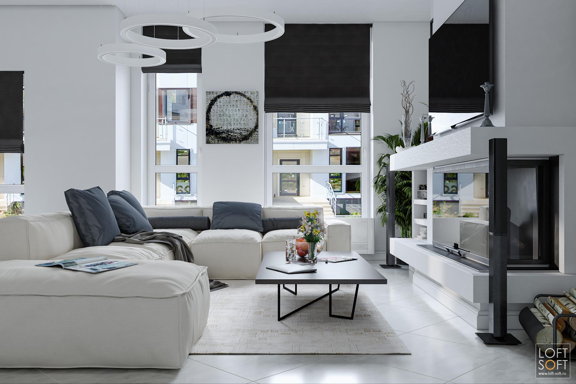 Светлый современный интерьер гостиной.