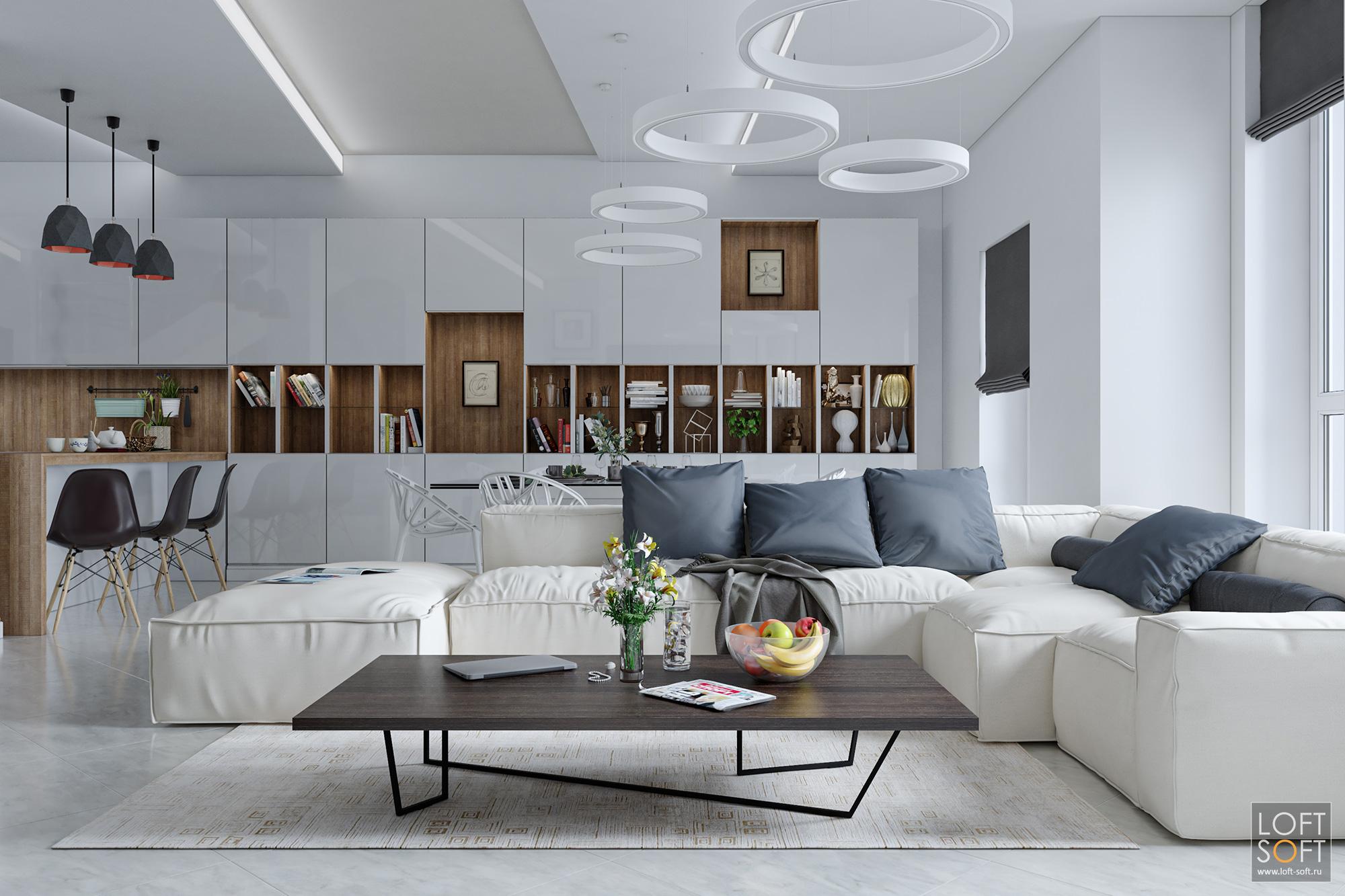 Многоуровневый потолок вгостиной. Современный дизайн таунхауса.