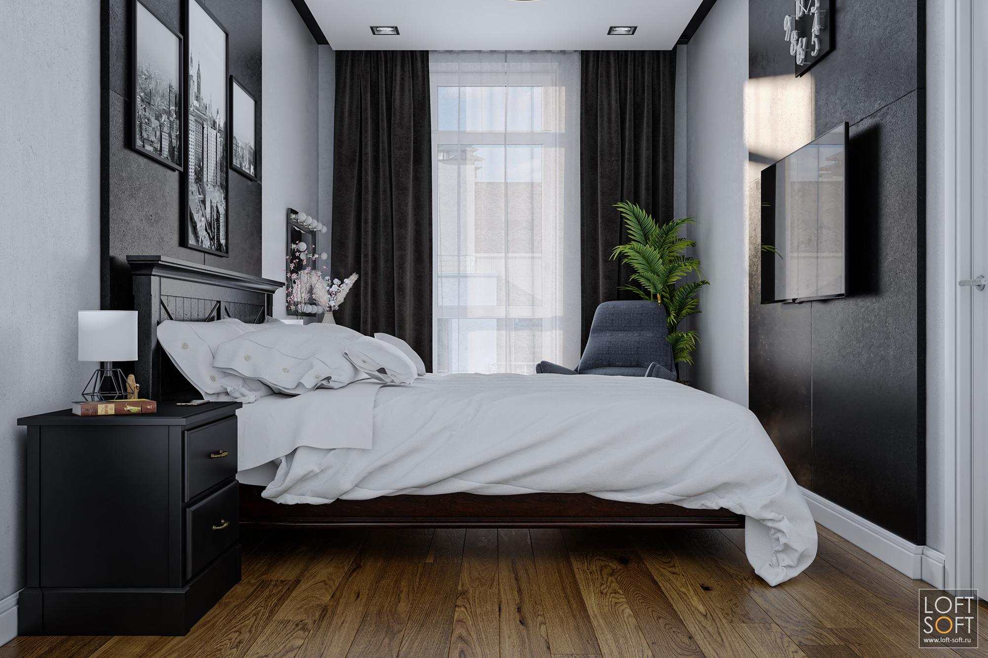 Современная спальня вчерно-белых тонах.