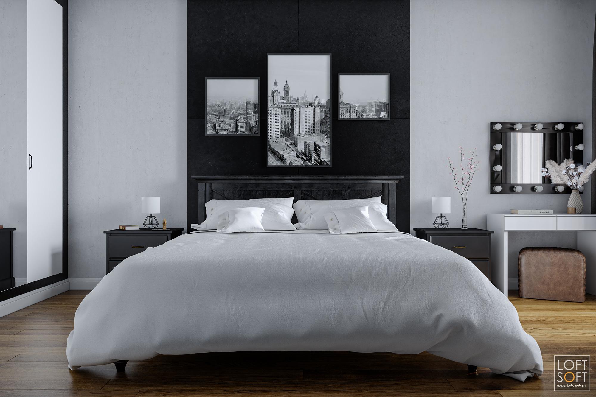 Черный бетон вспальне. Современный стильный интерьер.