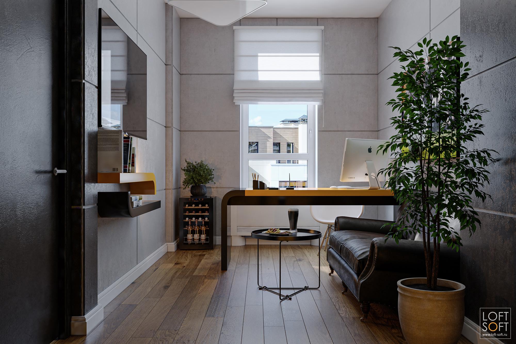 Современный интерьер рабочего кабинета. Панели из бетона винтерьере.